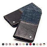 QIOTTI Hülle Kompatibel mit iPhone 8 Plus I iPhone 7 Plus Ledertasche aus Hochwertigem Leder RFID NFC Schutz mit Kartenfach Standfunktion in Denim Schwarz