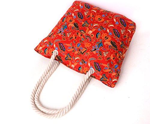 Fiore Modello Bohemien Grandi Capacità Delle Donne Della Tela Di Canapa Bag Beach Bag Red
