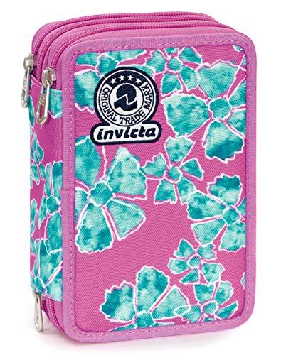Astuccio 3 zip invicta pansy, rosa, con materiale scolastico: 18 pennarelli giotto turbo color, 18 matite giotto laccato...