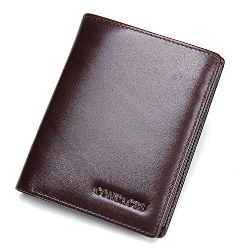 Contacts Männer Geldbeutel echtes Leder Tri Fold Short Wallet mit Foto / Kartenhalter Braun