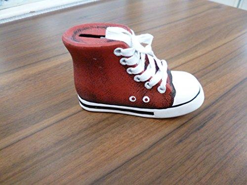 Spardose Turnschuh Chuck abschließbar Keramik Rot