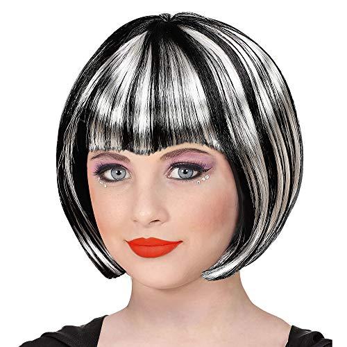 Widmann 46922 Perücke Halloween für Kinder, Mädchen, Schwarz/Weiß