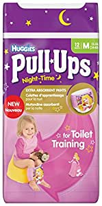 Huggies Pull Ups Nightime Potty Training Pants for Girls - Medium (11-18 kg), 12 x 3 Packs (36 Pants)