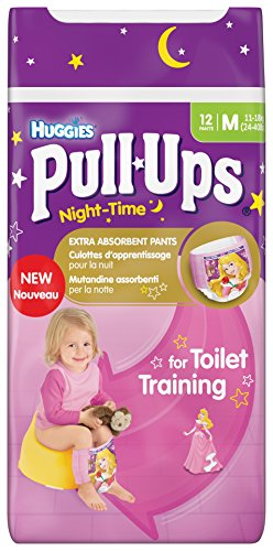 Huggies Night-Time Pull-Ups Disney Princess Design Size 5 (24-50 lbs/11-18 kg) Nappies - 3 x Packs of 12 (36 Pants)