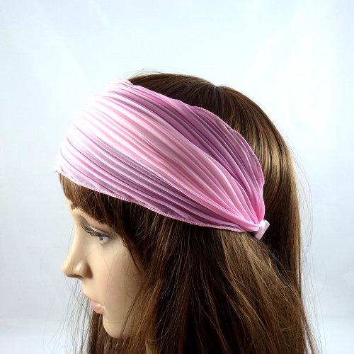rougecaramel - Serre tête/headband/ large plissé façon bandeau - rose