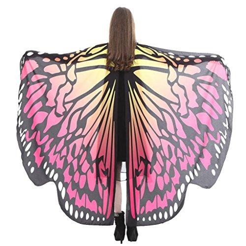 Disfraz de Alas de Mariposa para Mujer,Lenfesh Adulto Mariposa Alas Chal Hada duendecillo Cosplay Capa Disfraces (168x135CM, Rosado #4)