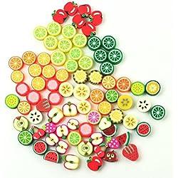 Lot 100 perles fruit pate fimo polymere 10 x 10 pomme raisin citron mixte