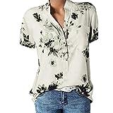 Große Größe Blusen Damen Elegante V-Ausschnitt Blumen Bluse Kurzarmshirt Sommer Casual Lose Tunika Top Hemd mit Knopfleiste Blusenshirt Tasche T-Shirt Oberteile (T-Weiß, EUR-34/CN-S)