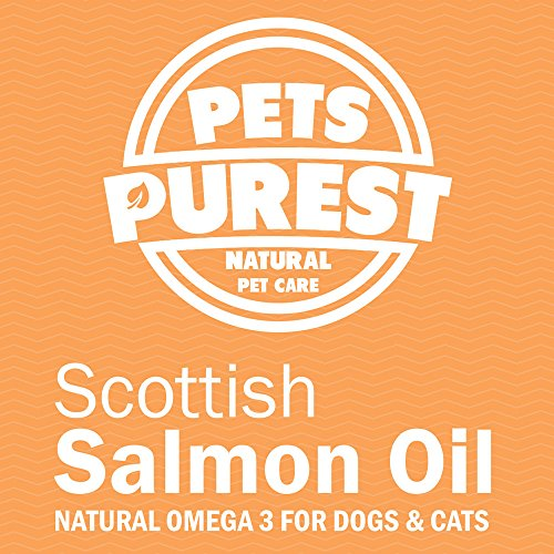 Pets Purest – 1 Litre – 100% Natural Premium Food Grade Pure Scottish Salmon Oil. Omega 3 Supplement for Dogs, Cats, Horses & Pets. Promotes Coat, Joint and Brain Health