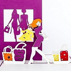 """Pop-Up Karte """"Shopping"""" - 3D Grußkarte & Geburtstagskarte, Gutschein & Geschenkgutschein, Einkaufsgutschein als 3D Karte zum Geburtstag"""