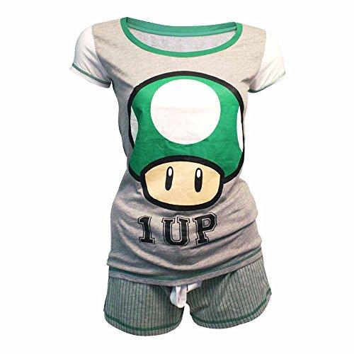Nintendo - pijamas con pantalones cortos con lanzamiento de Super Mario Bros 1-Hasta un champiñón, gris / verde, M