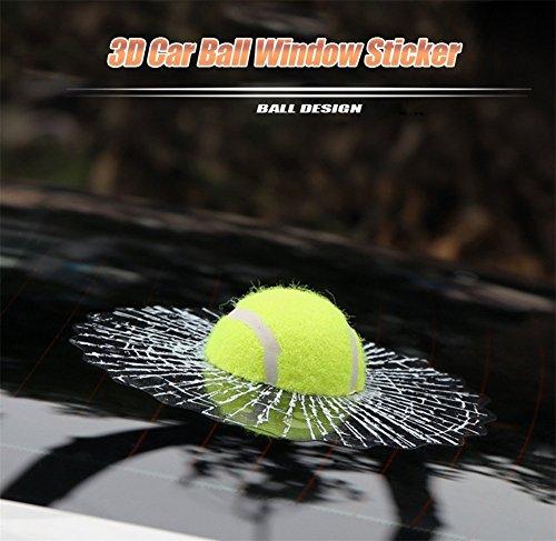 G&S GS Auto-Styling 3D lustiger Tennisball Hits Autofenster Aufkleber selbstklebend Auto Karosserie Tennis Aufkleber