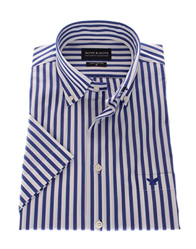Bots & Bots 167003 Exclusive Collection - Camicia Uomo Manica Corta - Puro Cotone Button Down Normal Fit Blu