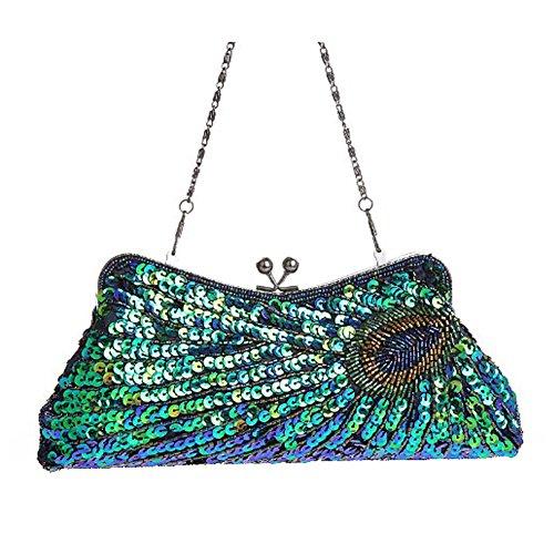Très Chic Mailanda Glitzer Damen Clutch Abendtasche Tasche mit Pfau Motiv Brauttasche Handtasche Pailletten Hochzeit Party viele Farben (Pfau Blau)