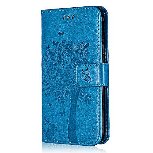 Galaxy S8 Plus Hülle, Bear Village® Galaxy S8 Plus Premium Leder Multi-funktion Ständer Schutzhülle mit Kartenfach, Geprägter Baum Anti-Scratch Hülle (#5 Blau) -