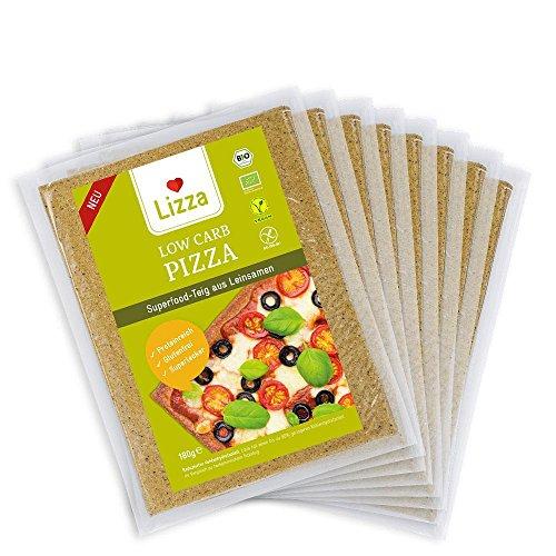 Lizza Low Carb Pizzateig aus Leinsamen und Chiasamen. Pizza. Bio. Glutenfrei. Vegan. Fertig (8 x 180g)