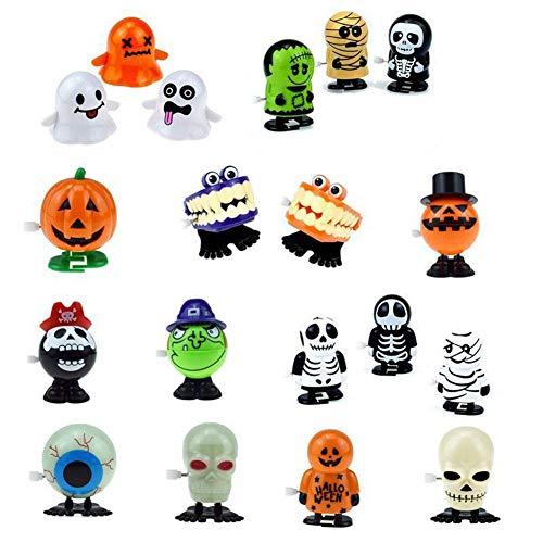 Szseven 1 Stück Wind Up Spielzeug - Halloween Puppe 75 MM Cartoon Zombie Vampire Kürbis Form Transparent Twisted Egg Capsule Ball Uhrwerk Halloween Walking Wind Up Spielzeug