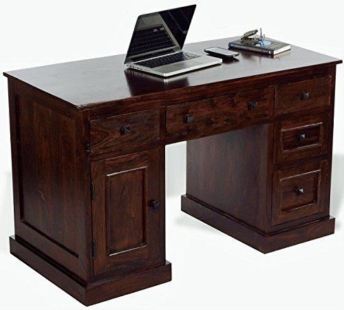 Mubell Twin Rise Study Table/Computer Table in Sheesham wood (Walnut), 4 Feet x 2 Feet Top, 5 Drawers, Keyboard Drawer, Cabinet on left - Work Clutter Free  available at amazon for Rs.22890