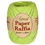 Eleganza 8 mm x 30 m de Ruban en Raphia Papier pour de Nombreux projets manuels, et Emballage Cadeau n ° 14 Vert Citron