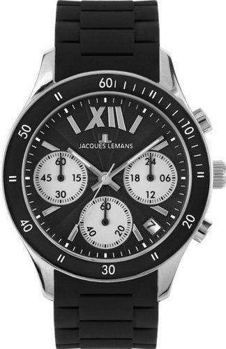 JACQUES LEMANS Rome Sports 1-1587A - Reloj de mujer de cuarzo, correa de silicona color negro