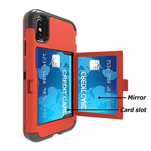 "iPhone X Mirror Case, Women Makeup Portable Hidden Mirror Three Layer Defender Cover With Card Slots Cash Pocket VMAE Protective Phone Case for iPhone X/iPhone 10 5.8"" - Red Red"