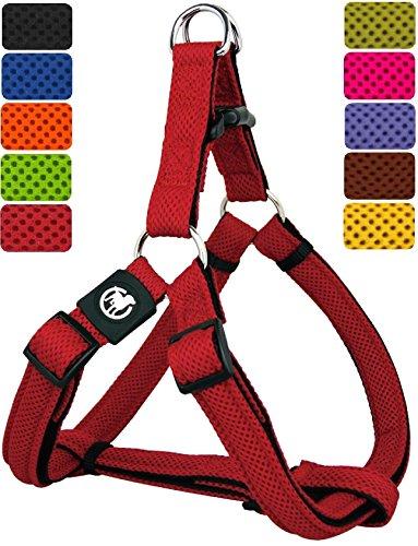 DDOXX Hundegeschirr Step-In Air Mesh   für große, mittelgroße, Mittlere & Kleine Hunde   Geschirr Hund   Katze   Brustgeschirr   Softgeschirr   Rot, XS - 1,5 x 32-44 cm