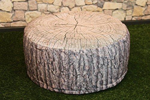 Sitzhocker / Sitzkissen - OUTDOOR POUF - Höhe ca. 25 cm Breite ca. 55 cm - schmutzabweisend und wasserabweisend - LOTUS EFFEKT - wetterfest - leicht faltbar und zu verstauen für Reisen, Camping oder Konzerte/ Festivals - ( OUTDOOR ), perfekt geeignet als Bodenkissen, Bodensack, Boden - Sessel oder Sitzsack, auch schön als Terrassen - Stuhl, Wintergarten - Möbel / Sitzkissen / Sitzsack mit Lotus - Effekt für Haus, Camping und Garten , hier ein tolles Motiv : (Baumstamm hell)