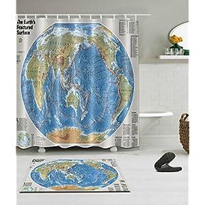 Mapa Cortina De Ducha Digital Impresión Poliéster Impermeable Antimoho,180*180cm