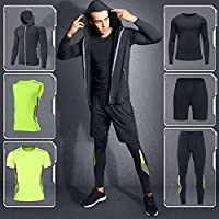 Clothing Mens Fitness Athletic Quick Dry Suit 6 Pieces for Gym Cycling Sportswear Running