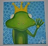 Bild mit Acrylfarbe auf Leinwand, Original, Froschkönig