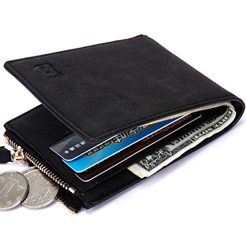 Baborry-Herren Brieftasche CRotit/ID Karte Halter Mit Reißverschluss Münztasche Kaffee schwarz