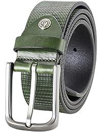 cb9df50fc452f5 LINDENMANN Ledergürtel Herren/Gürtel Herren, Vollrindleder, 40 mm,  flaschengrün