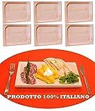 6 pz di Piatto vassoio tagliere scifetta per polenta alimenti in legno di faggio naturale rettangolare stuzzichini salumi e affettati