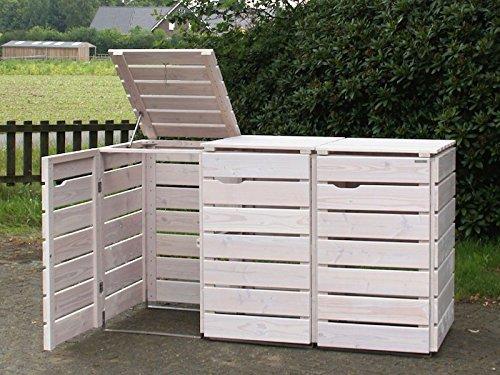 3er Mülltonnenbox / Mülltonnenverkleidung 240 L Holz, Transparent Geölt Weiß - 2