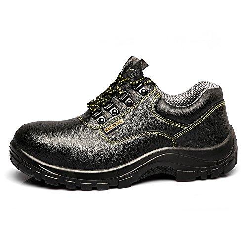 JACKBAGGIO Herren Leder Stahl Zehenspitze Resistant Black Work Schuh 8811 Schwarz