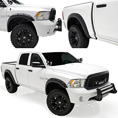 E-Autogrilles-20291-Black-Fender-Flare-Pocket-Rivet-Style-Front-Rear-for-09-15-Dodge-Ram-1500-by-E-Autogrilles