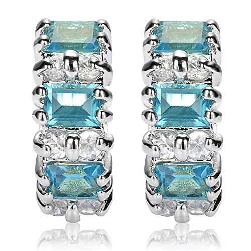 Neu Mode Damen Geschenk Zirkonia 18K Weissgold Vergoldet Aqua Blau Ohrringe