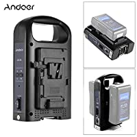 Andoer AD-2KS 2-Channel Dual Camcorder Battery Charger Professional 4-pin XLR DC Output & Portable Handle for V-Mount Battery for DSLR Video Camera