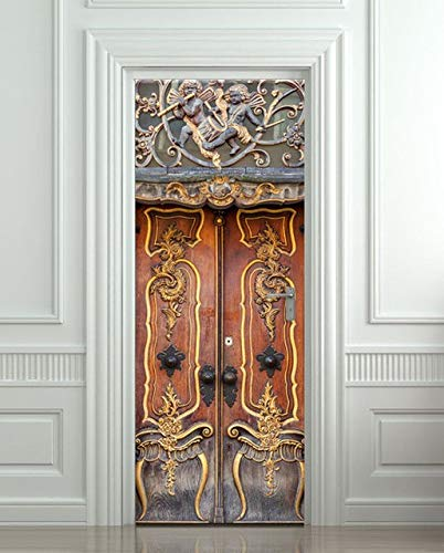 JIAER DIY 3D Wandaufkleber Wandbild Schlafzimmer Wohnkultur Poster Antike Barocke Abnehmbare Tür...