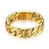 JewelryWe Schmuck Große Schwere Panzerkette Herren Armband, Edelstahl, Biker, Hochglanz Poliert, Gold, kostenlose Gravur