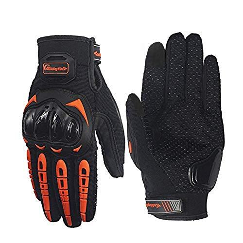 ARTOP Guantes Moto Anti-deslizante Anti-colisión con Dedo Táctil muy Buena Protección para Hombres(Naranja,L)