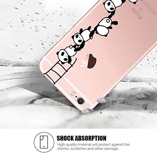 Cover iPhone 6 Plus Spiritsun Case iPhone 6S Plus Custodia Silicone Ultraslim Soft TPU Case Cristallo limpido Trasparente Cover Cartoon Kawaii Souple Flessibile Phone Protezione Case Per iPhone 6S Plu Panda 12