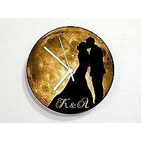 Custom Initials Wedding Couple Marriage Valentine - Yellow Full Moon