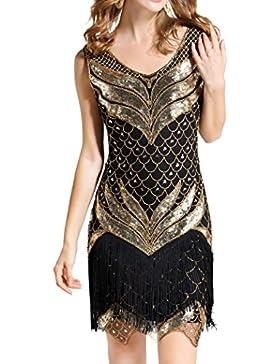 Dance Fairy Molliya Vestido de Lentejuelas Mujer 1920s Gatsby Disfraz Vestido con Flecos de Lentejuelas Flapper...