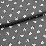 0,5m Stoff Sterne groß in dunkelgrau/ weiß Motivgröße 2cm Meterware