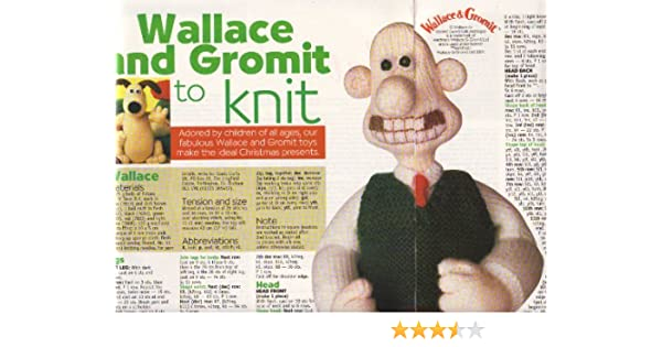 Wallace Gromit Toy Knitting Pattern Measurements Wallace 43cm