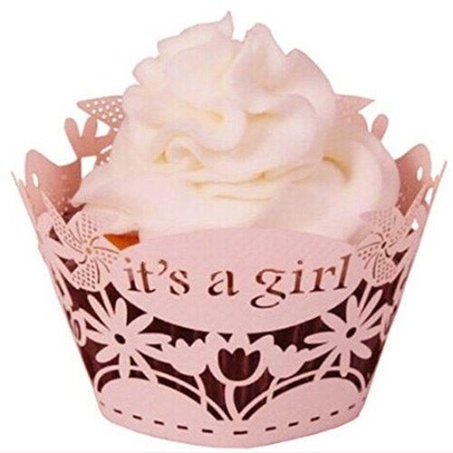 joyliveCY 12st Pearly Papier ist es EIN Mädchen Entwurf Vine Spitze Cup Cake Wrappers Tischdeko