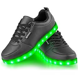 Angin-Tech Serie de Adultos Zapatillas LED USB de Carga DE 7 Colores de Luz Zapatillas con Luces del Zapato Por La Fiesta de Baile de Navidad de San Valentín con el CE Certificado (36, Negro)