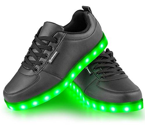 Shinmax Scarpe LED Carica USB 7 Colori Lampeggiante Unisex da Tennis per il Giorno di Natale del Regalo del Partito di Promenade con Certificato CE Scarpe con Luci, Nero, 36
