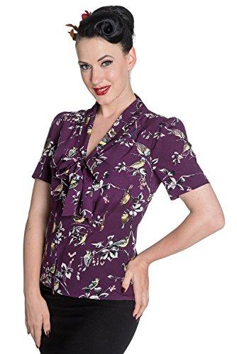 r 50er Jahre Pin Up Vintage Stil Bluse Top - Lila (XL - 42) ()
